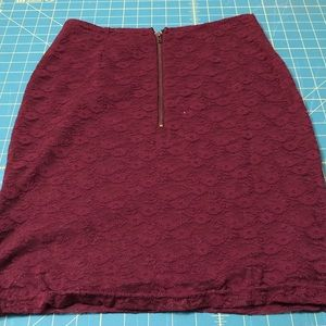 Anthropology Tulle Brand Maroon Knit Lace Skirt